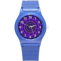 Purple Kaleidoscope Mandala Pattern Round Plastic Sport Watch (s)