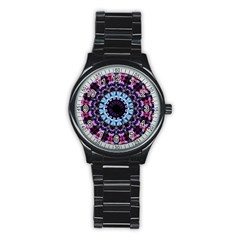 Kaleidoscope Shape Abstract Design Stainless Steel Round Watch