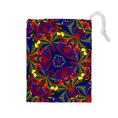 Kaleidoscope Pattern Ornament Drawstring Pouches (large)