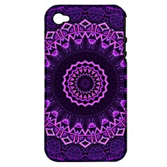Mandala Purple Mandalas Balance Apple Iphone 4/4s Hardshell Case (pc+silicone)