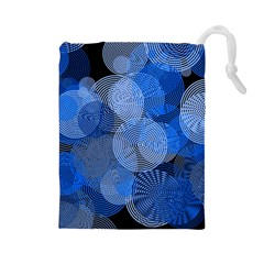 Circle Rings Abstract Optics Drawstring Pouches (large)