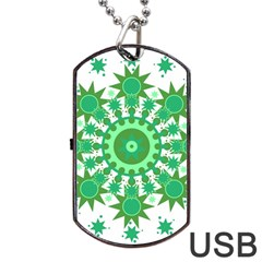 Mandala Geometric Pattern Shapes Dog Tag Usb Flash (one Side)