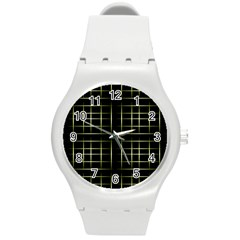 Background Texture Pattern Round Plastic Sport Watch (m)