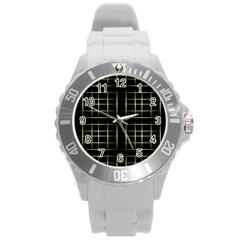 Background Texture Pattern Round Plastic Sport Watch (l)