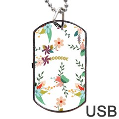 Floral Backdrop Pattern Flower Dog Tag Usb Flash (one Side)