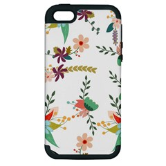 Floral Backdrop Pattern Flower Apple Iphone 5 Hardshell Case (pc+silicone)