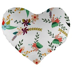Floral Backdrop Pattern Flower Large 19  Premium Heart Shape Cushions