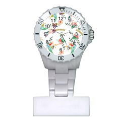 Floral Backdrop Pattern Flower Plastic Nurses Watch