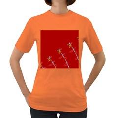 Red Background Paper Plants Women s Dark T Shirt