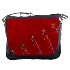 Red Background Paper Plants Messenger Bags