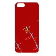 Red Background Paper Plants Apple Iphone 5 Seamless Case (white)