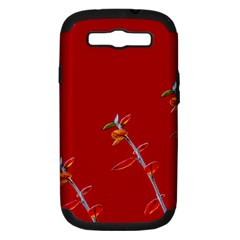 Red Background Paper Plants Samsung Galaxy S Iii Hardshell Case (pc+silicone)