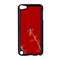 Red Background Paper Plants Apple Ipod Touch 5 Case (black)