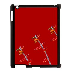 Red Background Paper Plants Apple Ipad 3/4 Case (black)