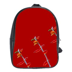 Red Background Paper Plants School Bag (xl)