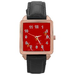 Red Background Paper Plants Rose Gold Leather Watch