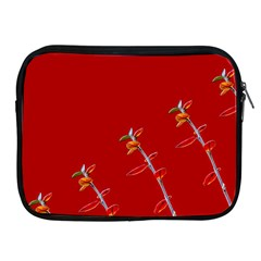 Red Background Paper Plants Apple Ipad 2/3/4 Zipper Cases