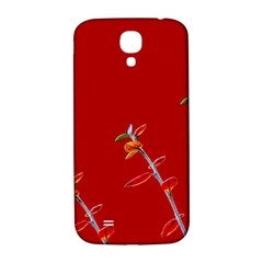 Red Background Paper Plants Samsung Galaxy S4 I9500/i9505  Hardshell Back Case
