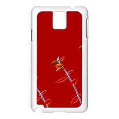Red Background Paper Plants Samsung Galaxy Note 3 N9005 Case (white)