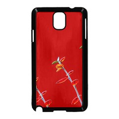 Red Background Paper Plants Samsung Galaxy Note 3 Neo Hardshell Case (black)