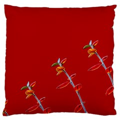 Red Background Paper Plants Large Flano Cushion Case (one Side)