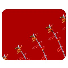 Red Background Paper Plants Double Sided Flano Blanket (medium)