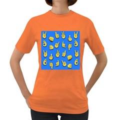 Emojis Hands Fingers Background Women s Dark T Shirt