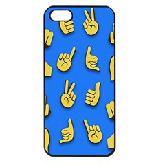 Emojis Hands Fingers Background Apple Iphone 5 Seamless Case (black)