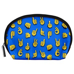 Emojis Hands Fingers Background Accessory Pouches (large)