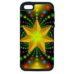 Christmas Star Fractal Symmetry Apple Iphone 5 Hardshell Case (pc+silicone)