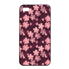 Cherry Blossoms Japanese Style Pink Apple Iphone 4/4s Seamless Case (black)