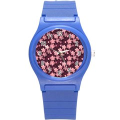 Cherry Blossoms Japanese Style Pink Round Plastic Sport Watch (s)