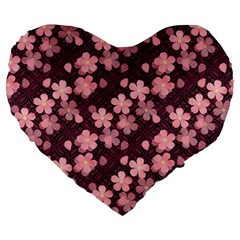 Cherry Blossoms Japanese Style Pink Large 19  Premium Heart Shape Cushions
