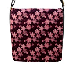 Cherry Blossoms Japanese Style Pink Flap Messenger Bag (l)