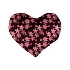 Cherry Blossoms Japanese Style Pink Standard 16  Premium Flano Heart Shape Cushions