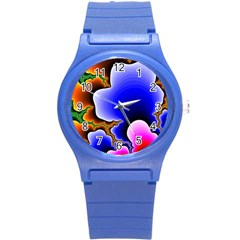 Fractal Background Pattern Color Round Plastic Sport Watch (s)