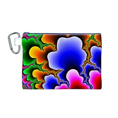 Fractal Background Pattern Color Canvas Cosmetic Bag (m)