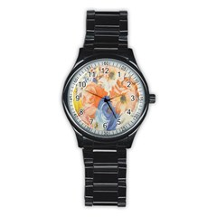 Texture Fabric Textile Detail Stainless Steel Round Watch