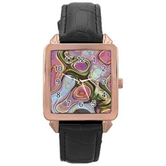 Retro Background Colorful Hippie Rose Gold Leather Watch