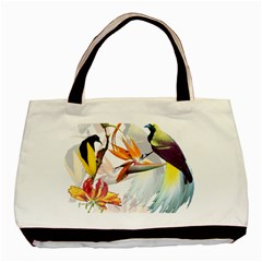 Exotic Birds Of Paradise And Flowers Watercolor Basic Tote Bag