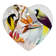 Exotic Birds Of Paradise And Flowers Watercolor Heart Ornament (two Sides)