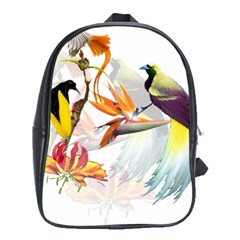 Exotic Birds Of Paradise And Flowers Watercolor School Bag (xl)