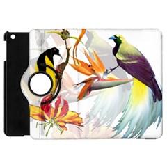 Exotic Birds Of Paradise And Flowers Watercolor Apple Ipad Mini Flip 360 Case