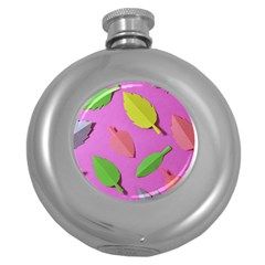 Leaves Autumn Nature Trees Round Hip Flask (5 Oz)