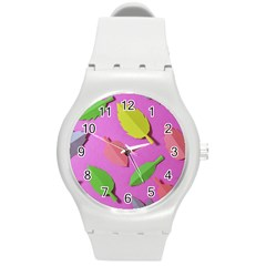 Leaves Autumn Nature Trees Round Plastic Sport Watch (m)