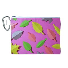 Leaves Autumn Nature Trees Canvas Cosmetic Bag (l)