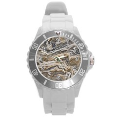 Texture Marble Abstract Pattern Round Plastic Sport Watch (l)