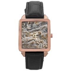 Texture Marble Abstract Pattern Rose Gold Leather Watch