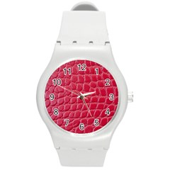 Textile Texture Spotted Fabric Round Plastic Sport Watch (m)