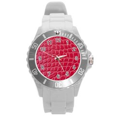 Textile Texture Spotted Fabric Round Plastic Sport Watch (l)